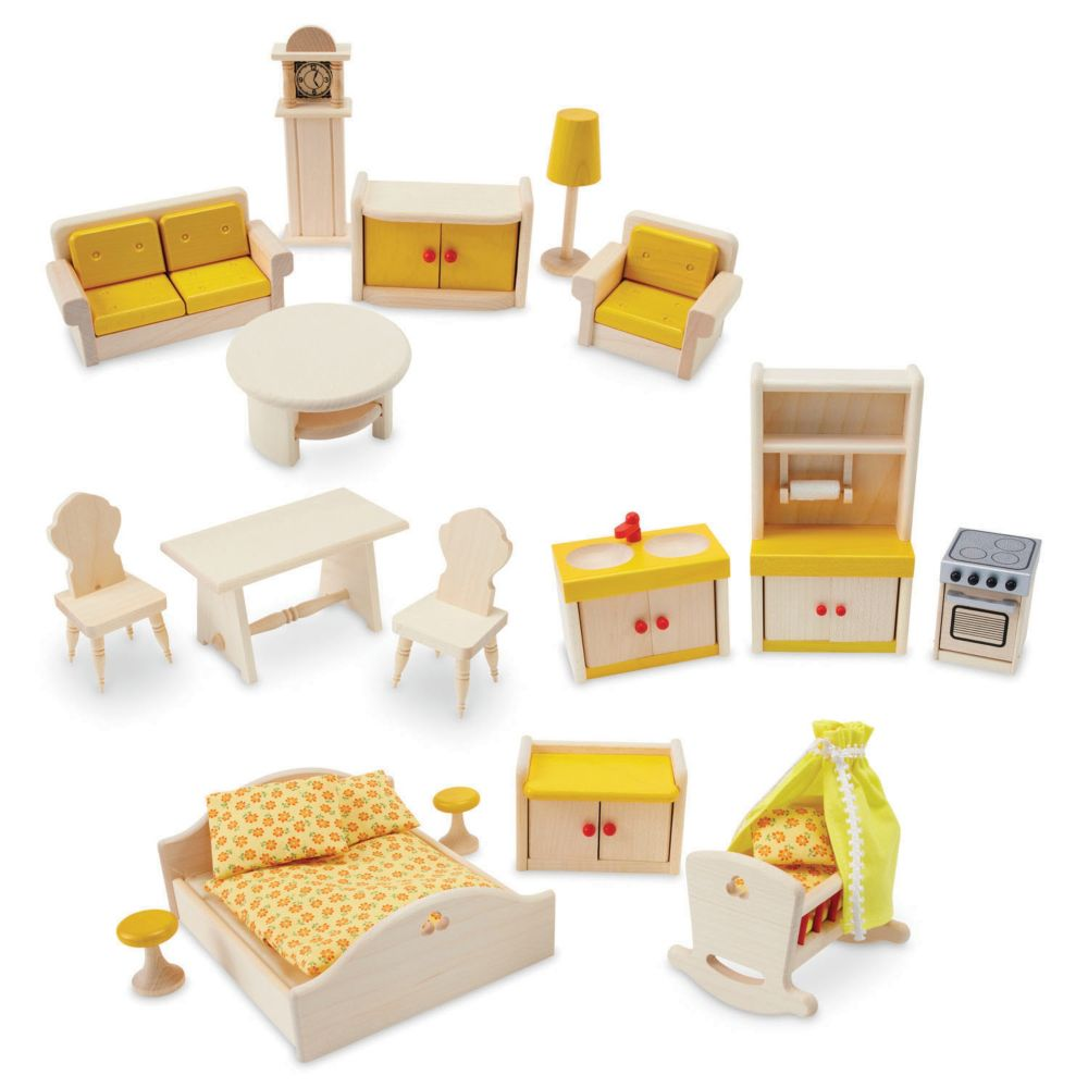 17-Piece Wooden Dollhouse Furniture Set From MindWare