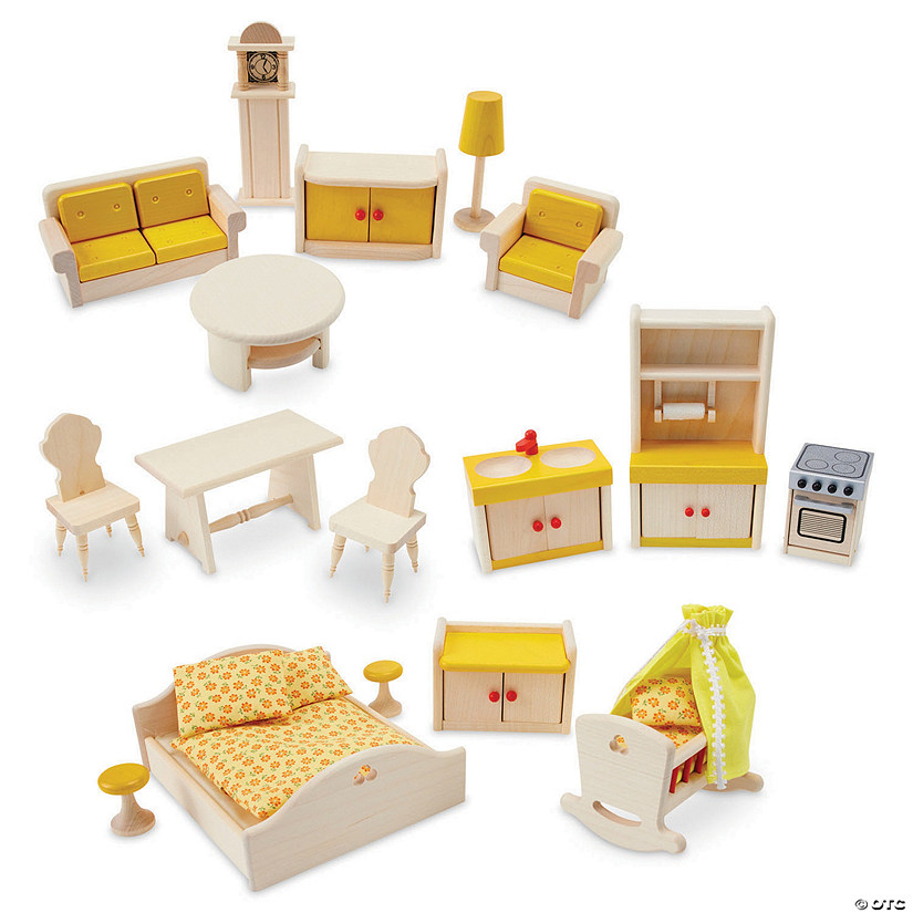 17 Piece Wooden Dollhouse Furniture Set Mindware