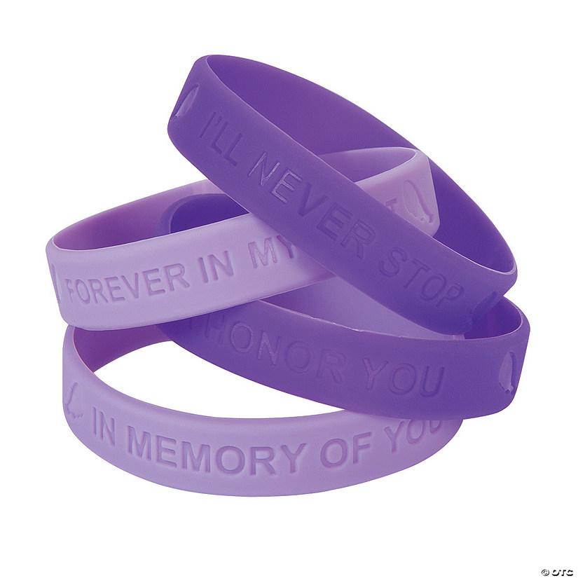Purple Awareness Ribbon Memory Sayings Rubber Bracelets