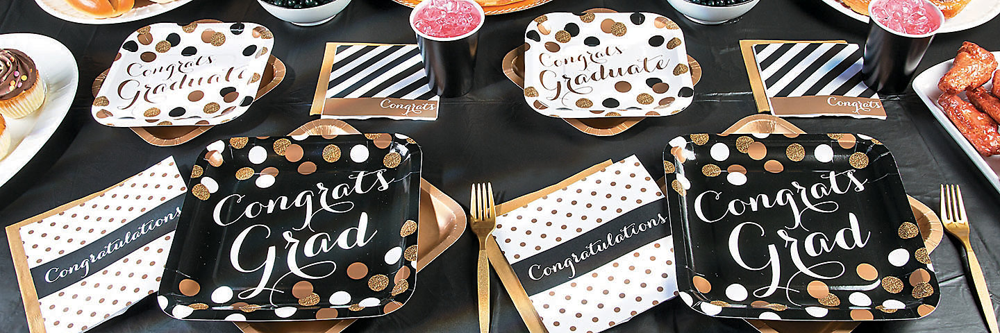 Black & Gold Graduation Party Supplies