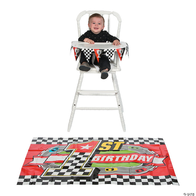 Race Car 1st Birthday High Chair Decorating Kit