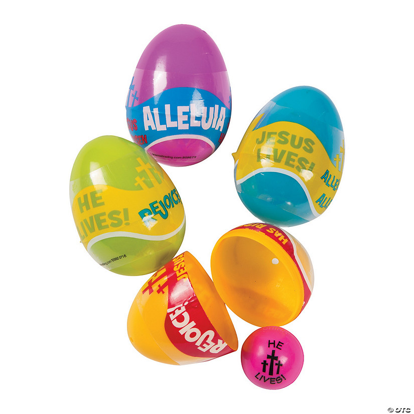 Religious Phrases Bouncing Ball Filled Plastic Easter Eggs 24 Pc Oriental Trading