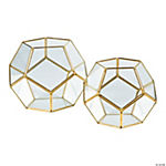 Gold Geometric Terrarium Candle Holders