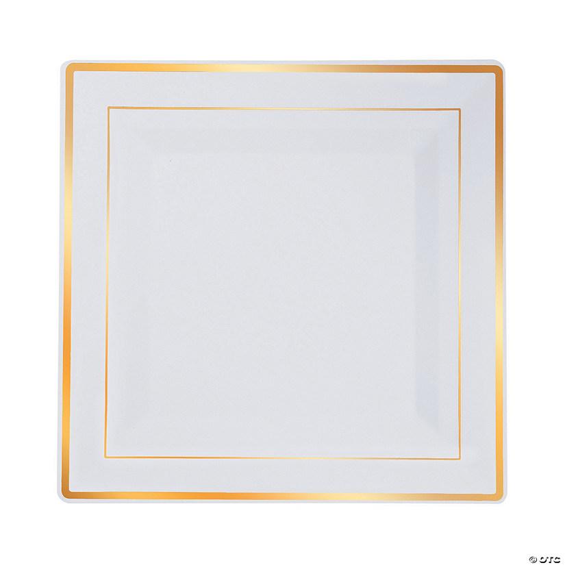 White Square Premium Plastic Dinner Plates with Gold-Trim