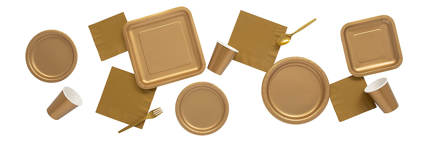 Solid Color Metallic Gold Tableware