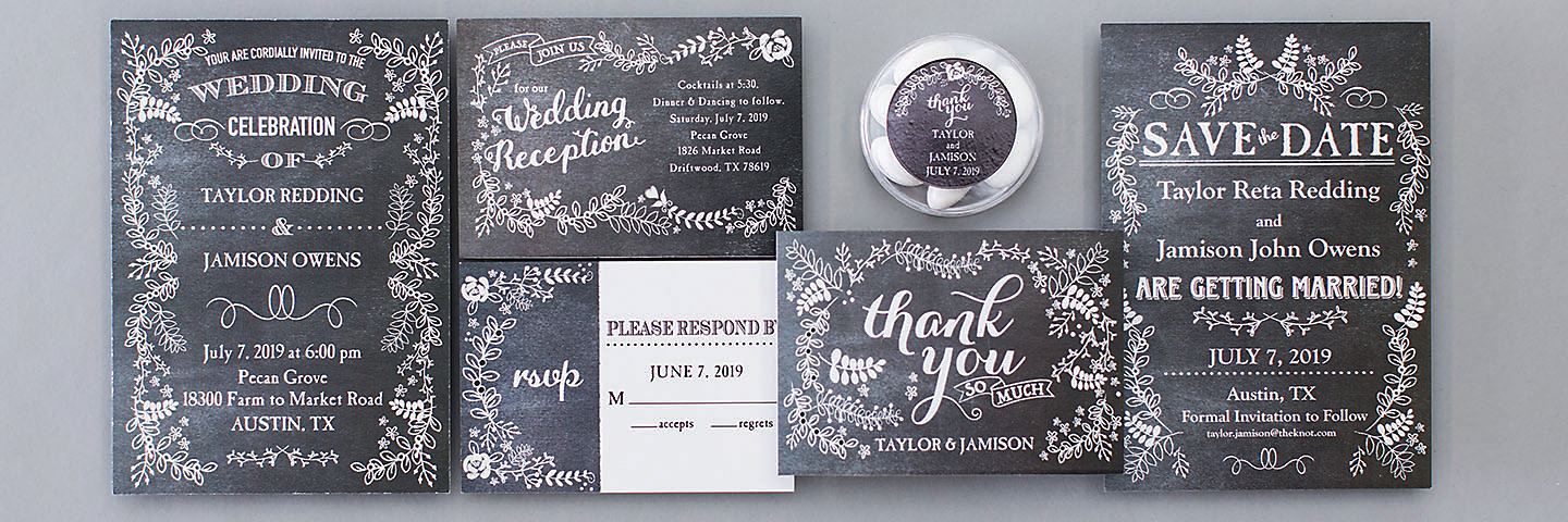 Chalkboard Floral Wedding Stationery