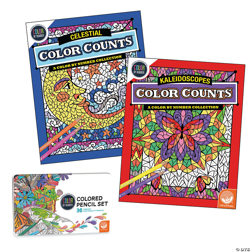 Color By Number Color Counts Set Of 2 With 36 Pencils Mindware