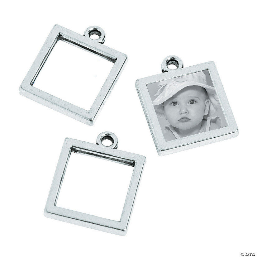 Silvertone Square Frame Charms