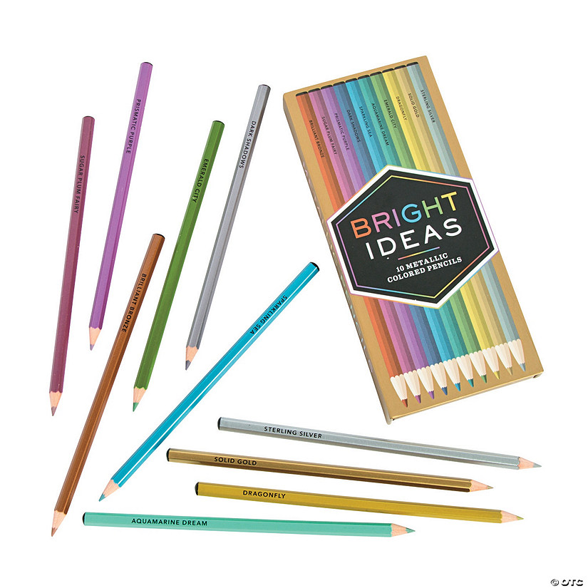 10 Metallic Colouring pencils