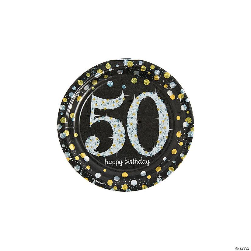 Sparkling Celebration 50th Birthday Paper Dessert Plates