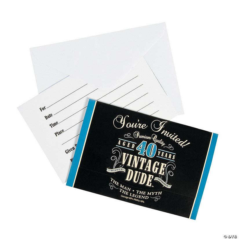 Vintage dude 40th birthday invitations filmwisefo