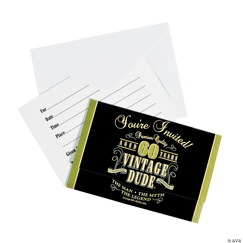 vintage dude 60th birthday invitations