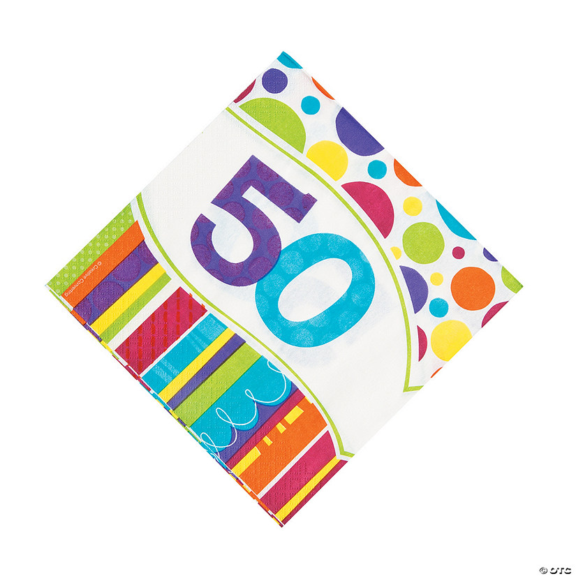 Bright & Bold 50th Birthday Luncheon Napkins