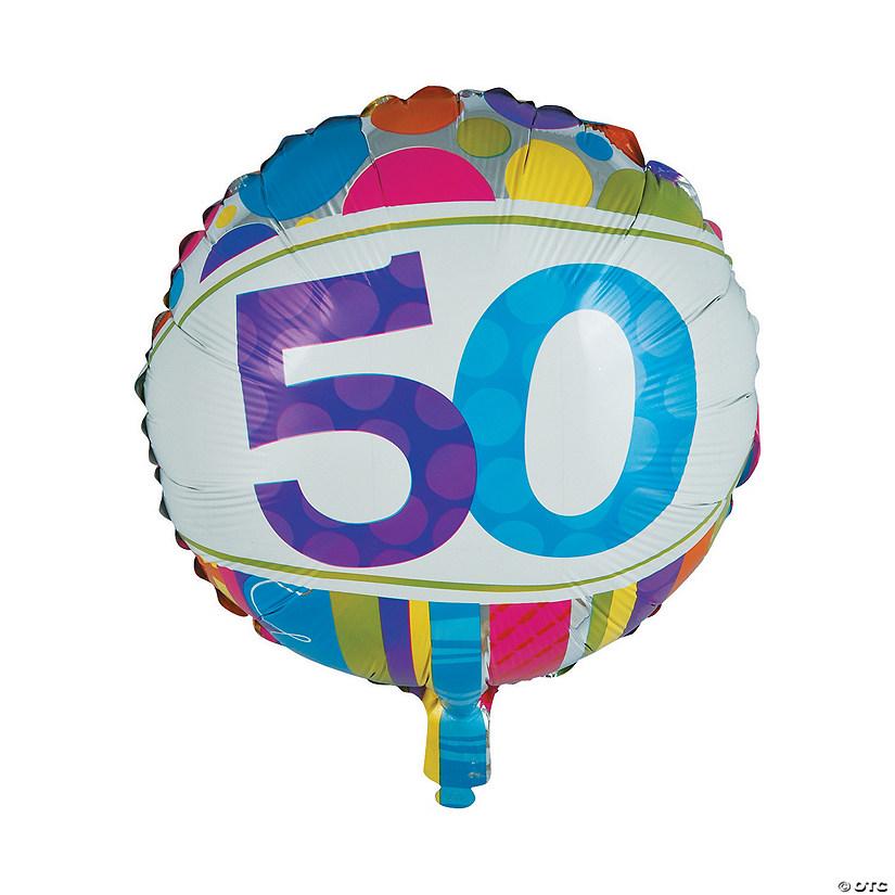 Bright Bold 50th Birthday Metallic 18 Mylar Balloon