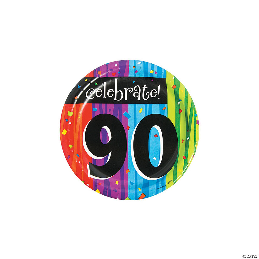 Milestone Celebration 90th Birthday Paper Dessert Plates