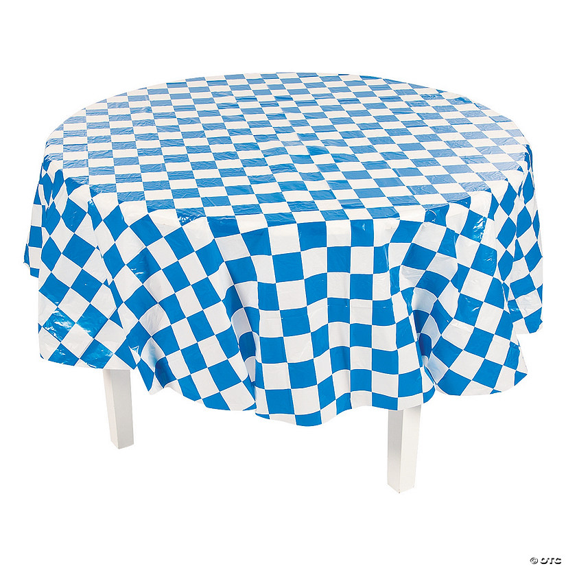 Magnificent Blue White Checkered Round Plastic Tablecloth Bralicious Painted Fabric Chair Ideas Braliciousco
