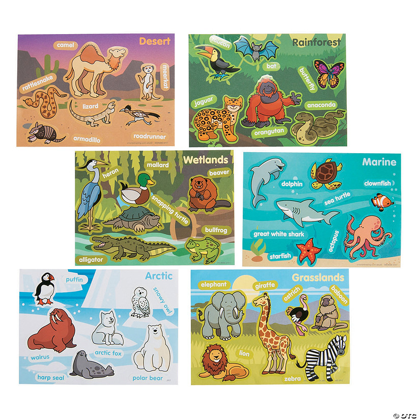Animal Habitat Mini Sticker Scenes Oriental Trading