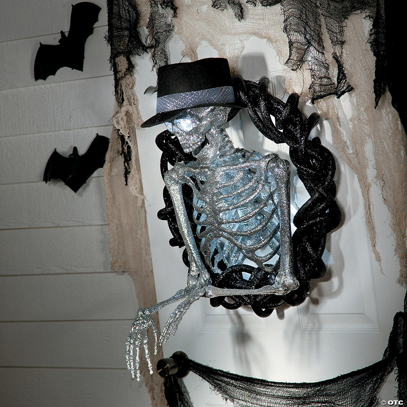 Glittered Skeleton Wreath Halloween Decoration