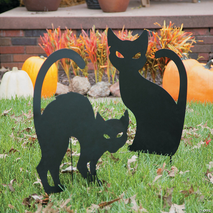 Silhouette Cat Yard Signs Halloween Decorations