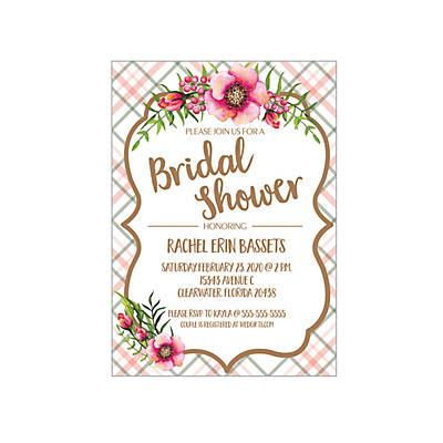 7ba80c6f51dd Personalized Floral Plaid Bridal Shower Invitations