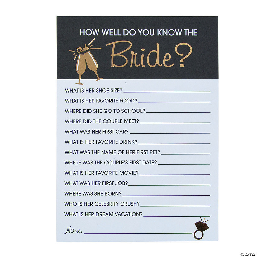 Bride And Groom Questionnaire: Bridal Shower Trivia Game