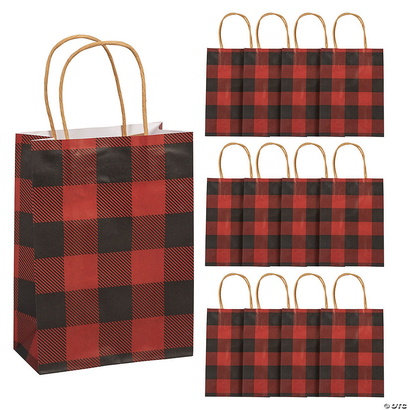 Small Buffalo Plaid Kraft Paper Gift Bags