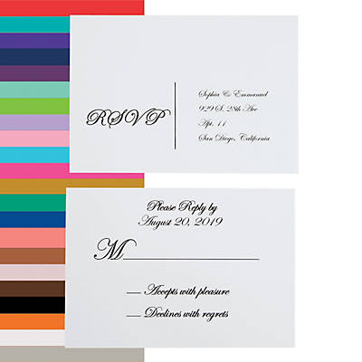 Wedding Response Cards.Personalized Traditional Script Wedding Response Cards