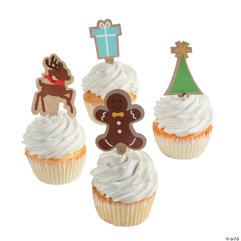 Christmas Cupcake Toppers.Kraft Paper Christmas Cupcake Toppers