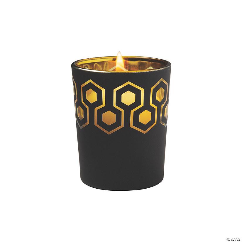 Geometric Black Gold Votive Candle Holders