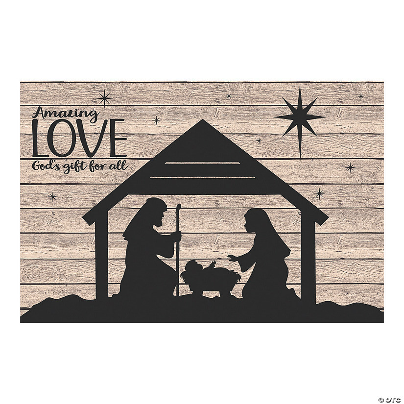 Nativity Silhouette Barnwood Backdrop Manger scene clipart black and white. nativity silhouette barnwood backdrop