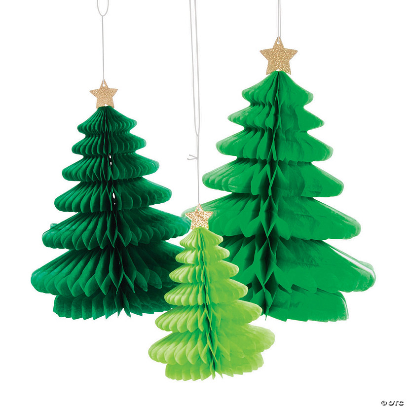 Paper Christmas Decorations.Christmas Tree Fold Out Hanging Paper Lanterns