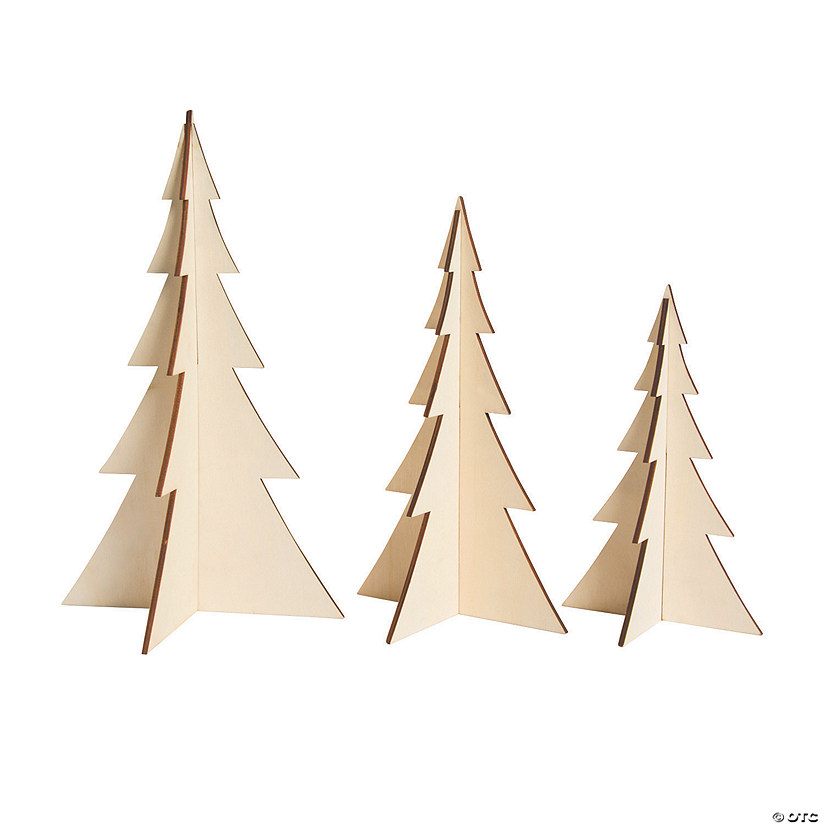 DIY Unfinished Wood 3D Stand-Up Trees