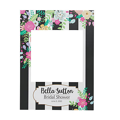 Personalized Striped Bridal Shower Frame Cutout