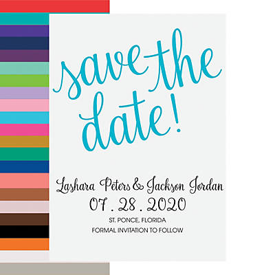 personalized love script save the date cards