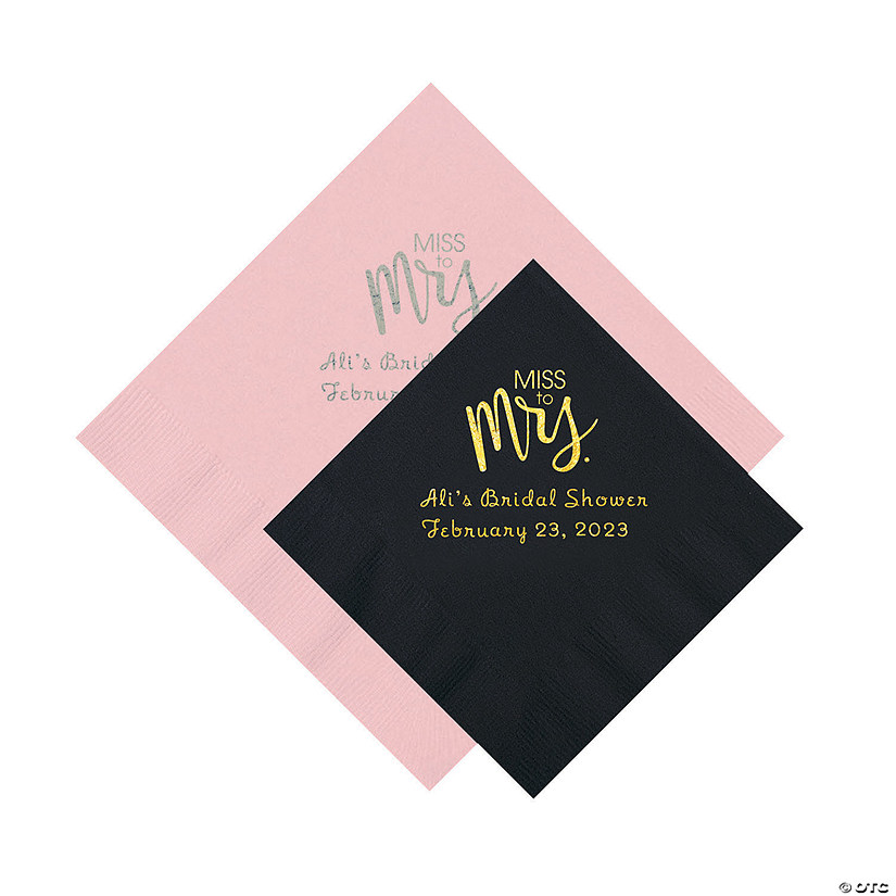 miss to mrs personalized napkins beverage or luncheon