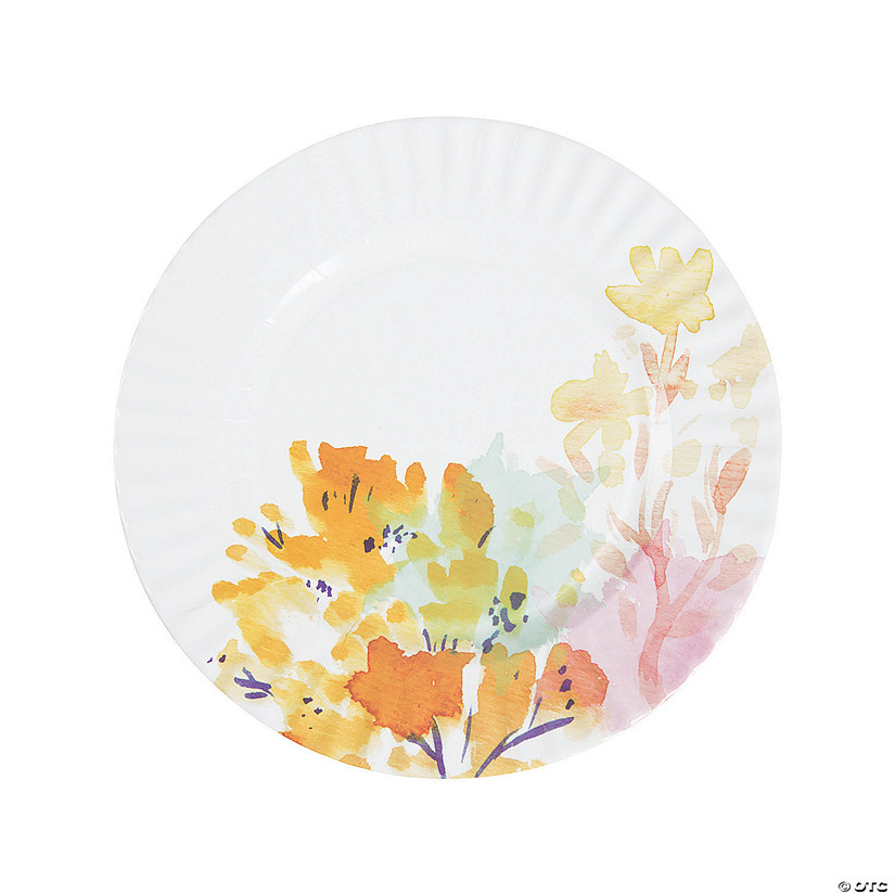 fluorescent floral paper dinner plates