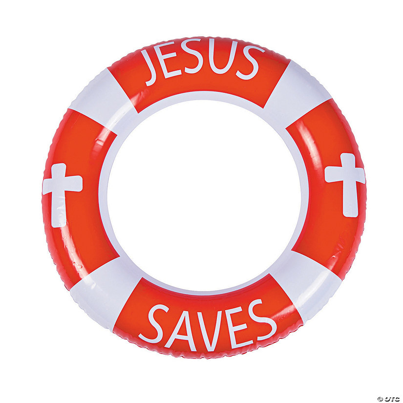 Inflatable Jesus Saves Life Preserver