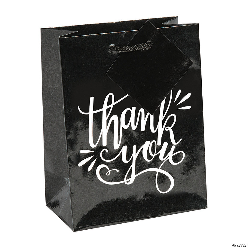 sc 1 st  Oriental Trading & Small Black u0026 White Thank You Gift Bags | Oriental Trading