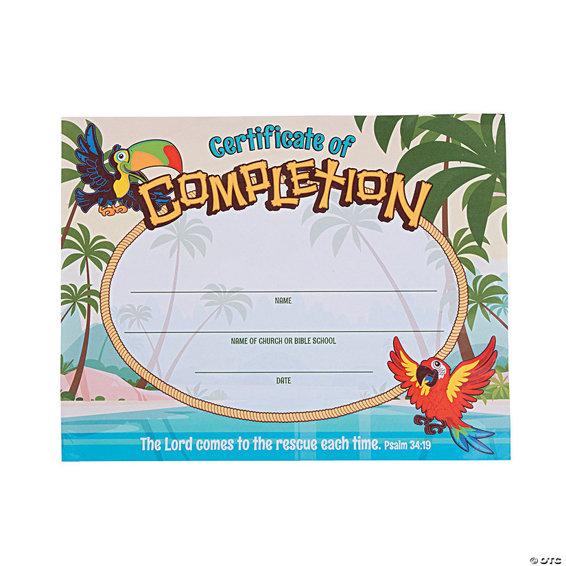photo about Vbs Certificate Printable known as Island VBS Certificates of Completion