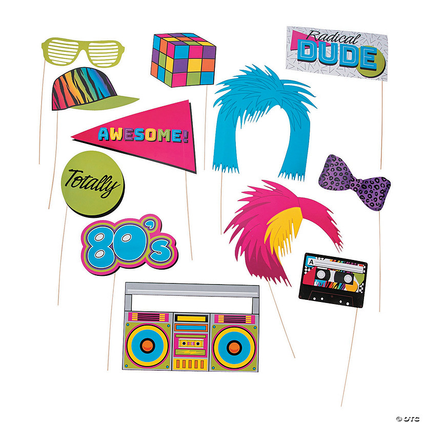 Awesome 80s Photo Stick Props | Oriental Trading
