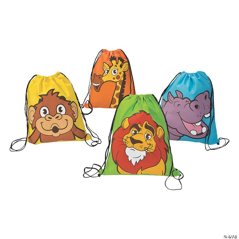 Large Zoo Adventure Drawstring Bags