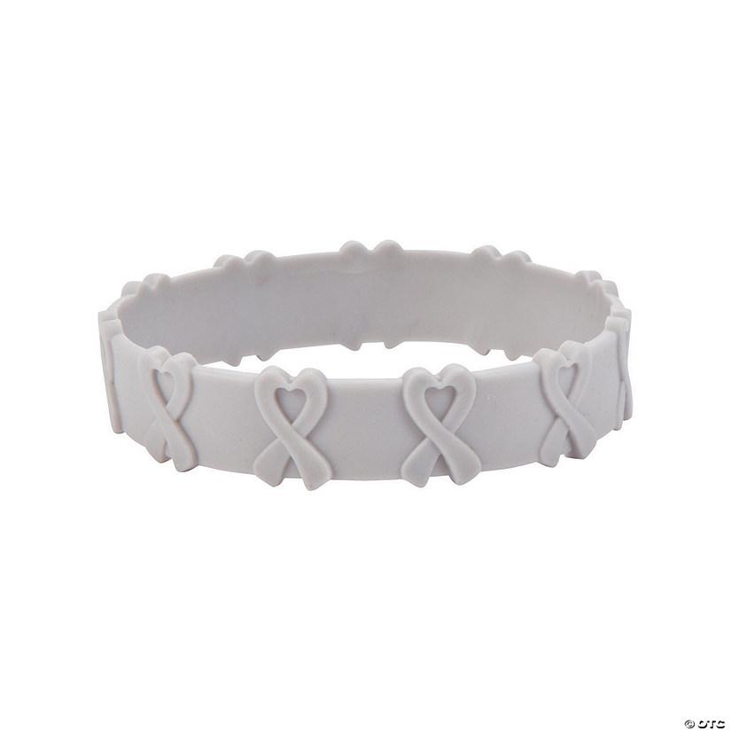 Grey Awareness Ribbon Pop Out Rubber Bracelets