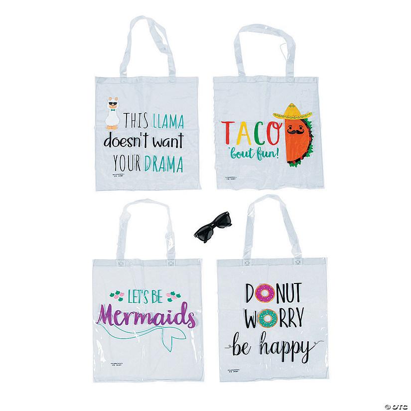 Large Printed Fun Sayings Clear Tote Bags