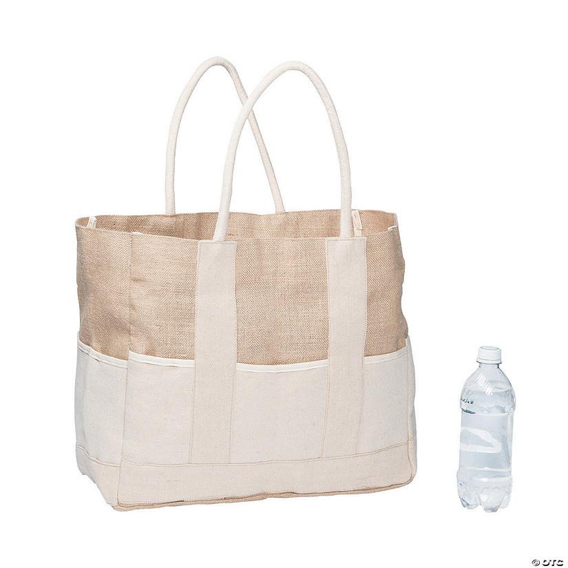 Two Tone Burlap Tote Bag