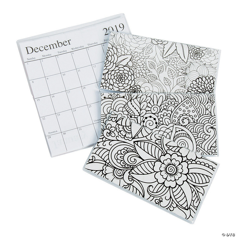2019 2020 adult coloring pocket calendars
