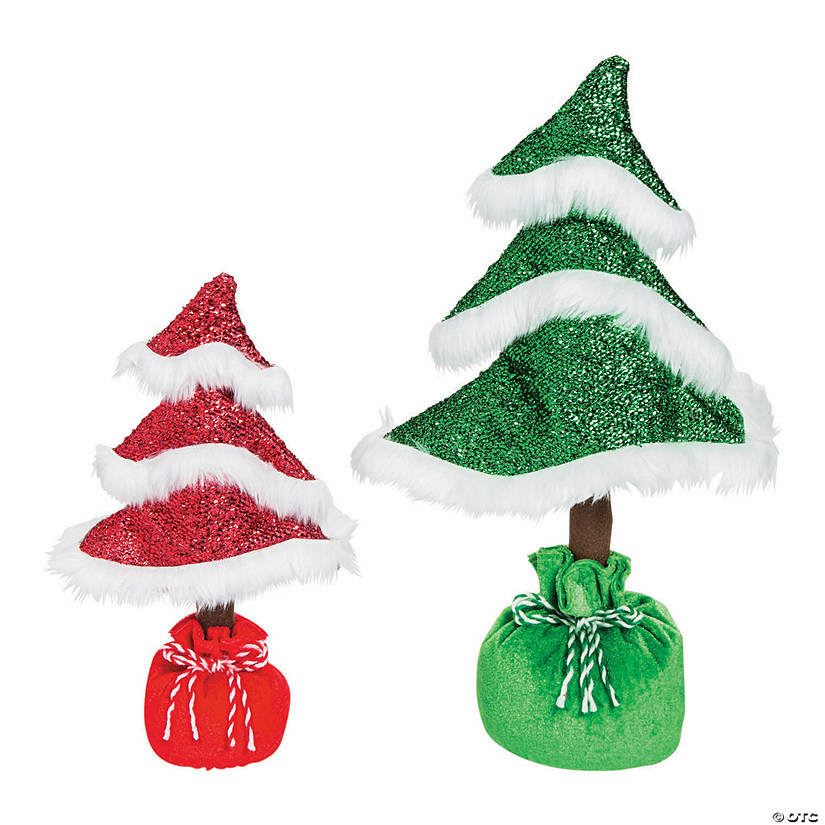 whimsical christmas curly tabletop trees