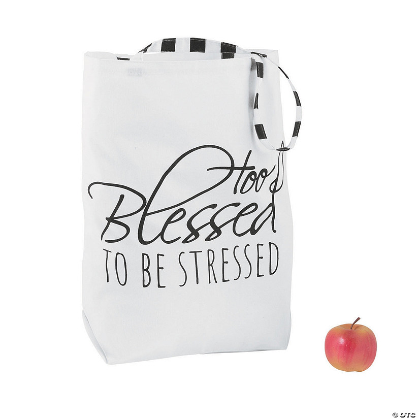 Too Blessed to Be Stressed Large Canvas Tote Bag