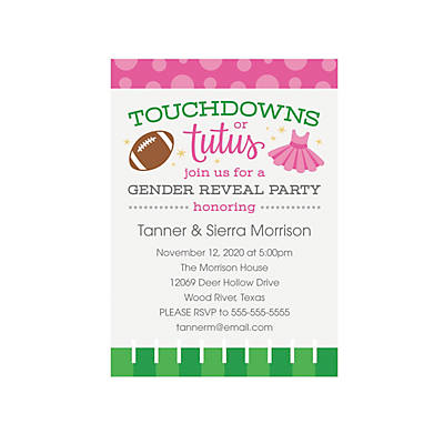 personalized touchdowns or tutus gender reveal invitations