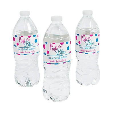 Personalized Pink Or Blue Gender Reveal Water Bottle Labels