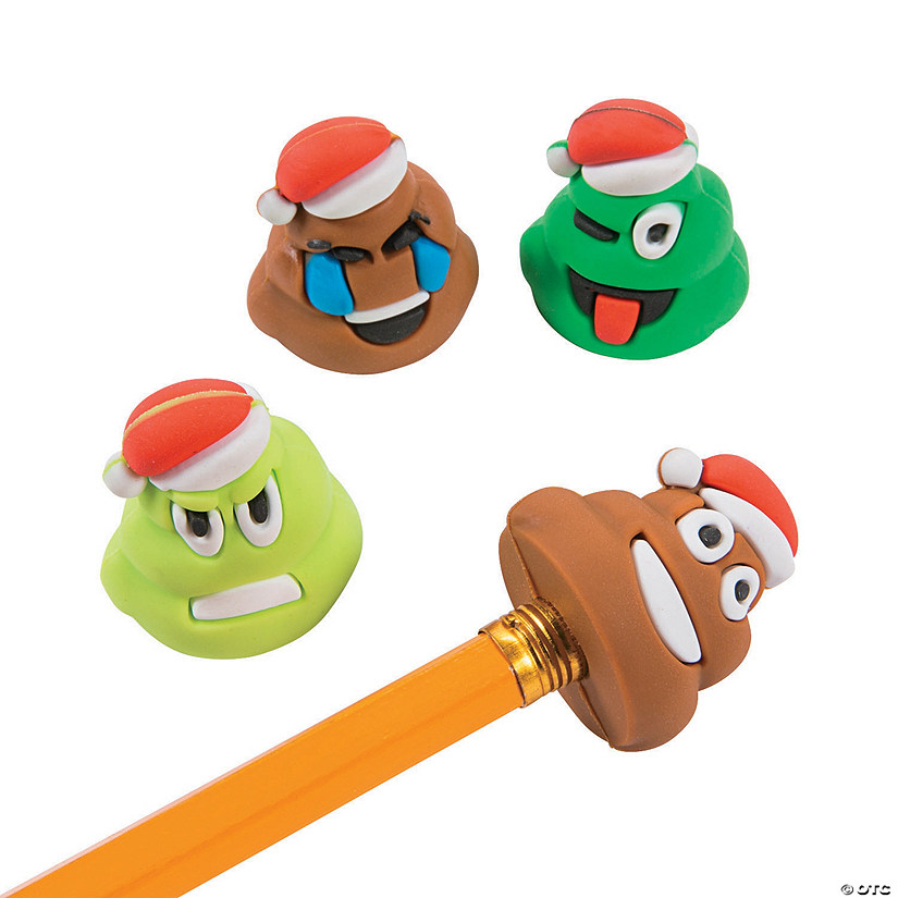 christmas poop emoji pencil toppers - Christmas Poop